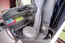 Close up of bathroom in alto travel trailer