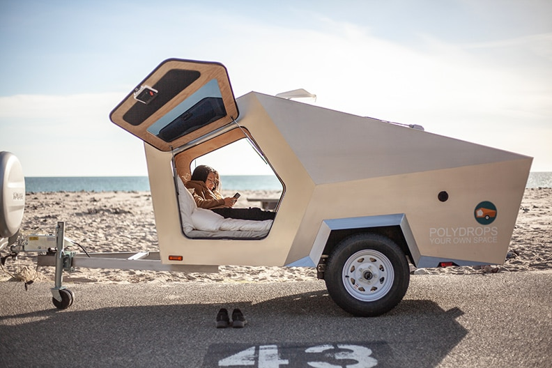 Exterior Polydrop Trailer at the beach