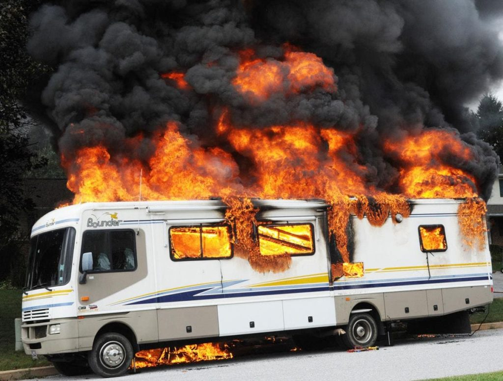 RV on fire completely burning