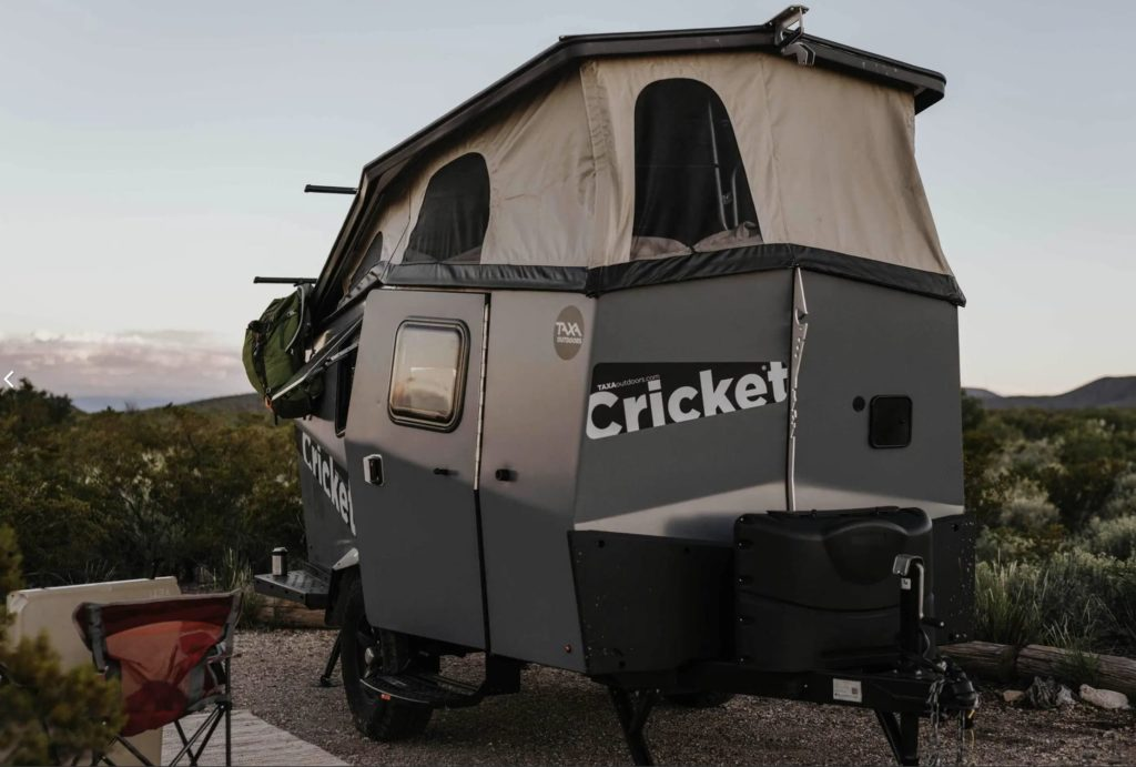 Exterior view of cricket camping trailer