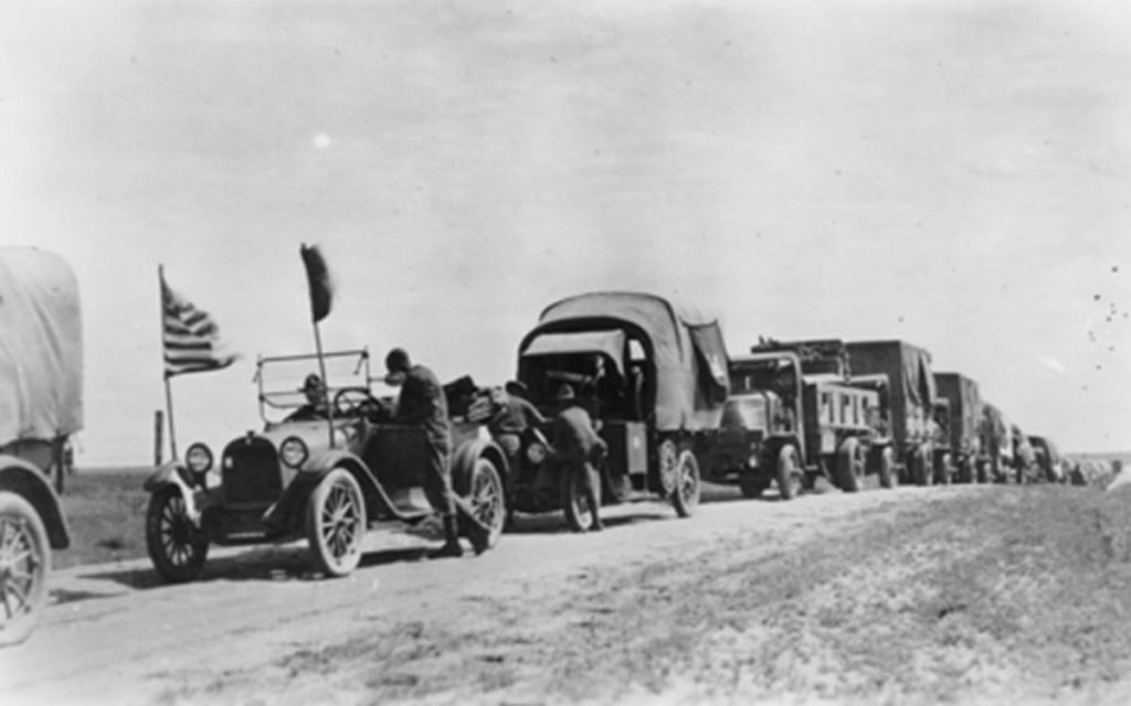 1919 Great American Road trip image of military convoy with Dwight Eisenhower carrying supplies