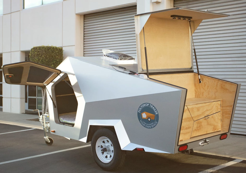 Exterior of camper on street with galley hatch open