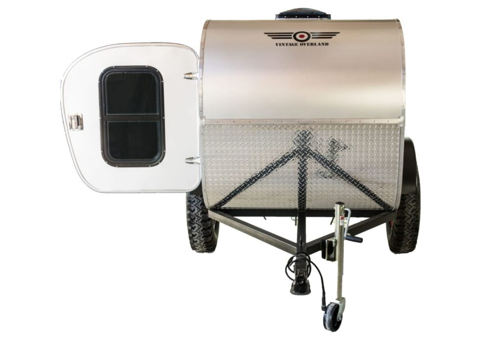 front view and tongue view of vintage overland great escape teardrop trailer