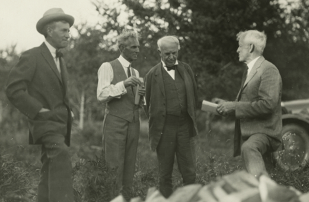 Henry Ford, Thomas Edison, James Burroughs, Harvey Firestone at campsite