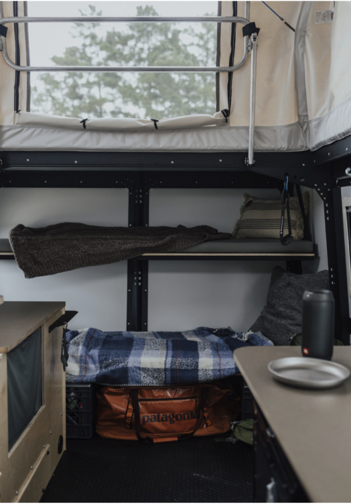 Bunk beds inside the Mantis camping trailer