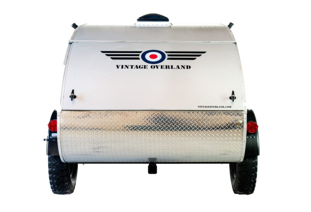 rear view of T.E. Lawrence vintage overland teardrop trailer