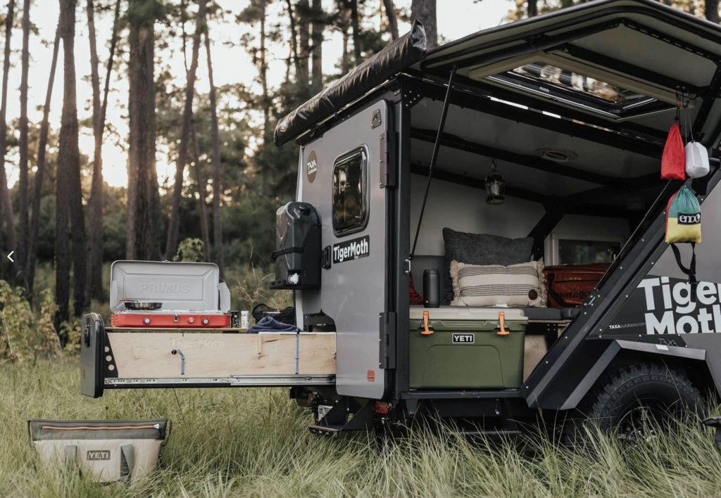Slide out kitchen of the Taxa Tiger Moth camping trailer
