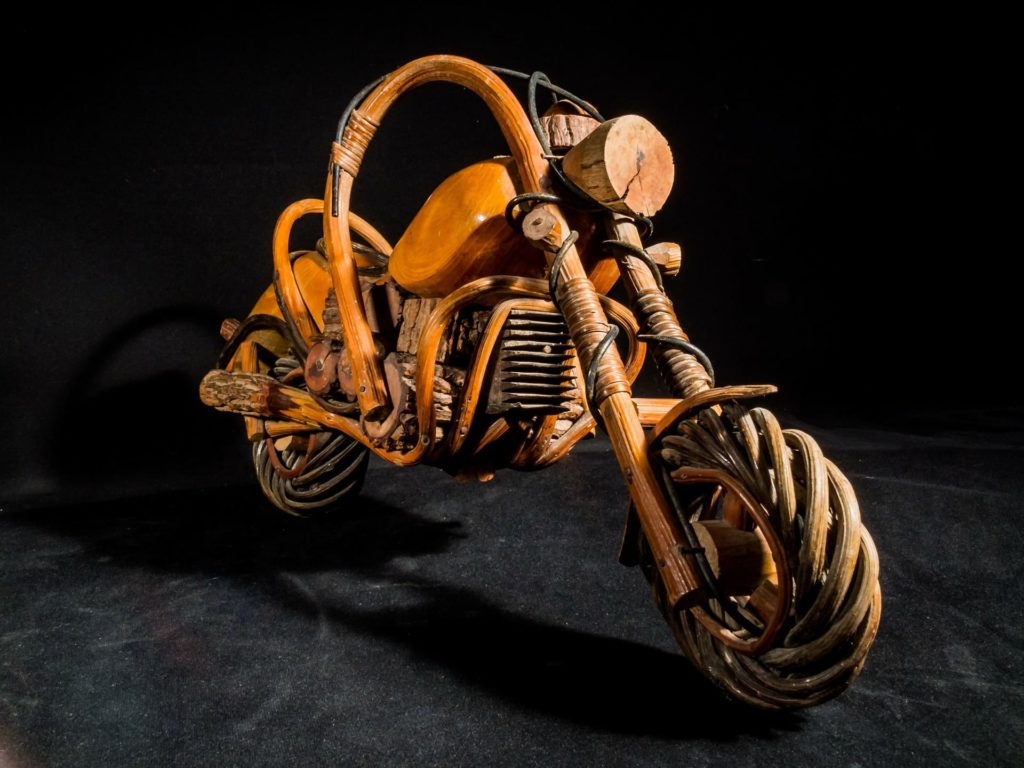 Motorcycle made entirely out of wood