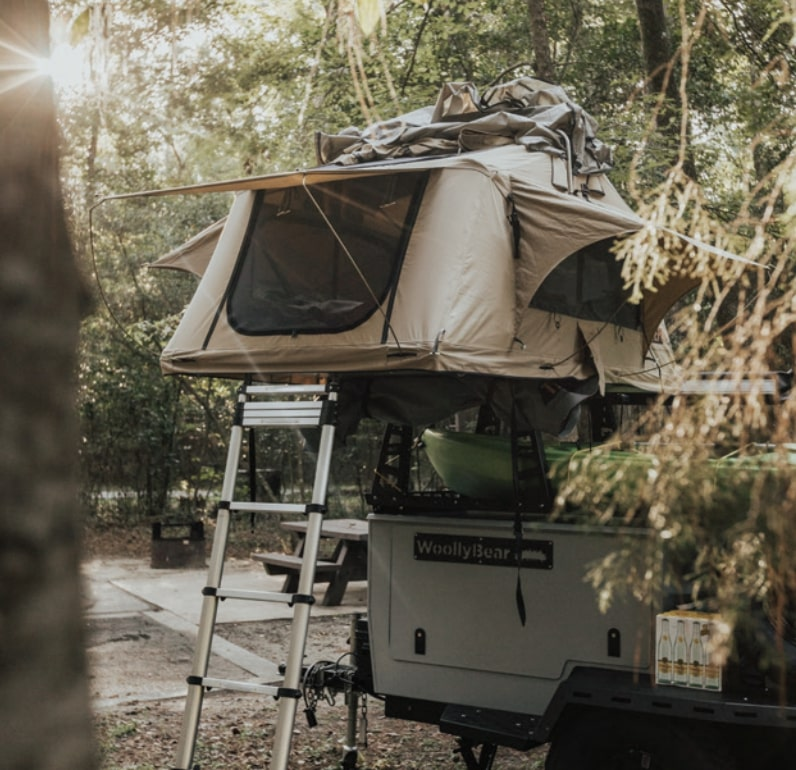 roof top tent on top of Woolly Bear trailer