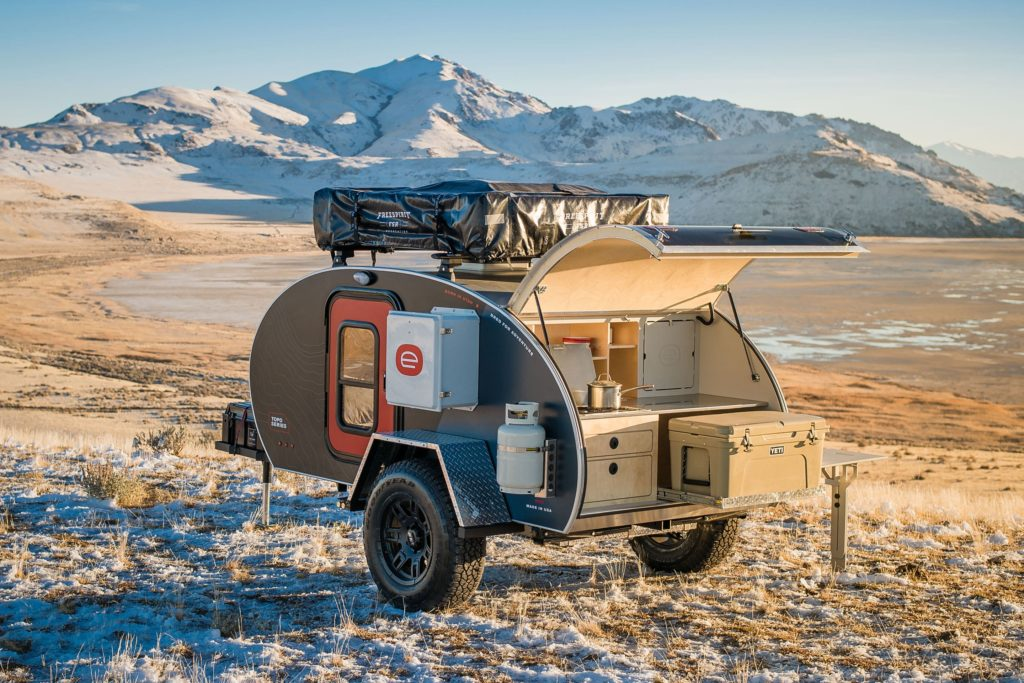 Exterior image of Escapod teardrop travel trailer in the mountains