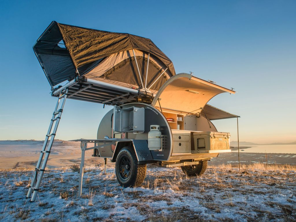 Exterior image of Escapod trailer with roof top tent