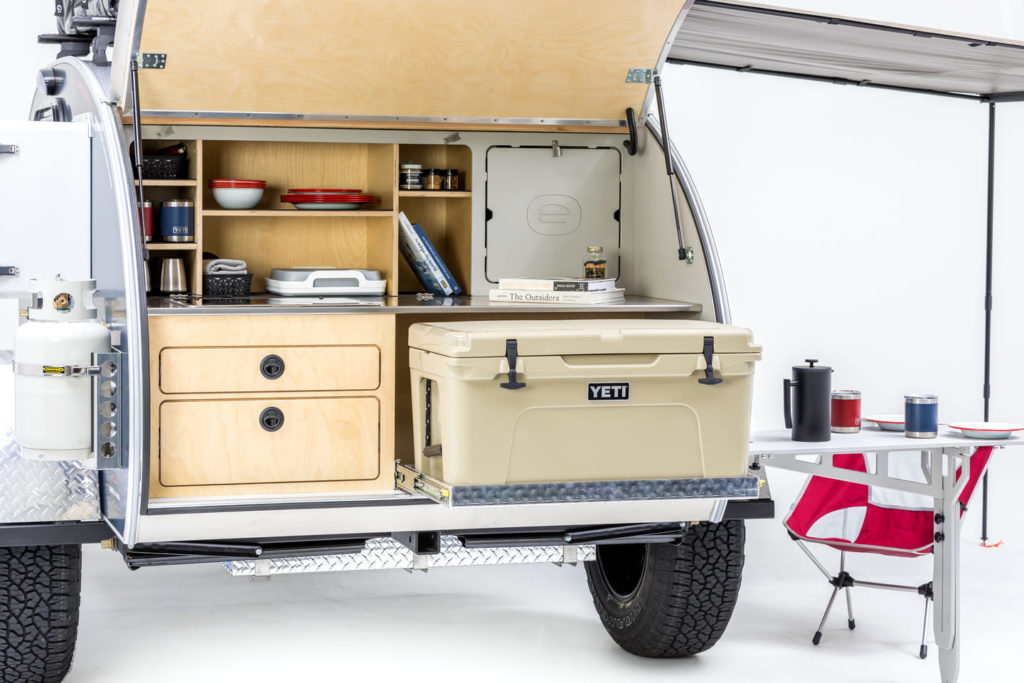 Escapod trailet rear showing kitchen and Yeti cooler