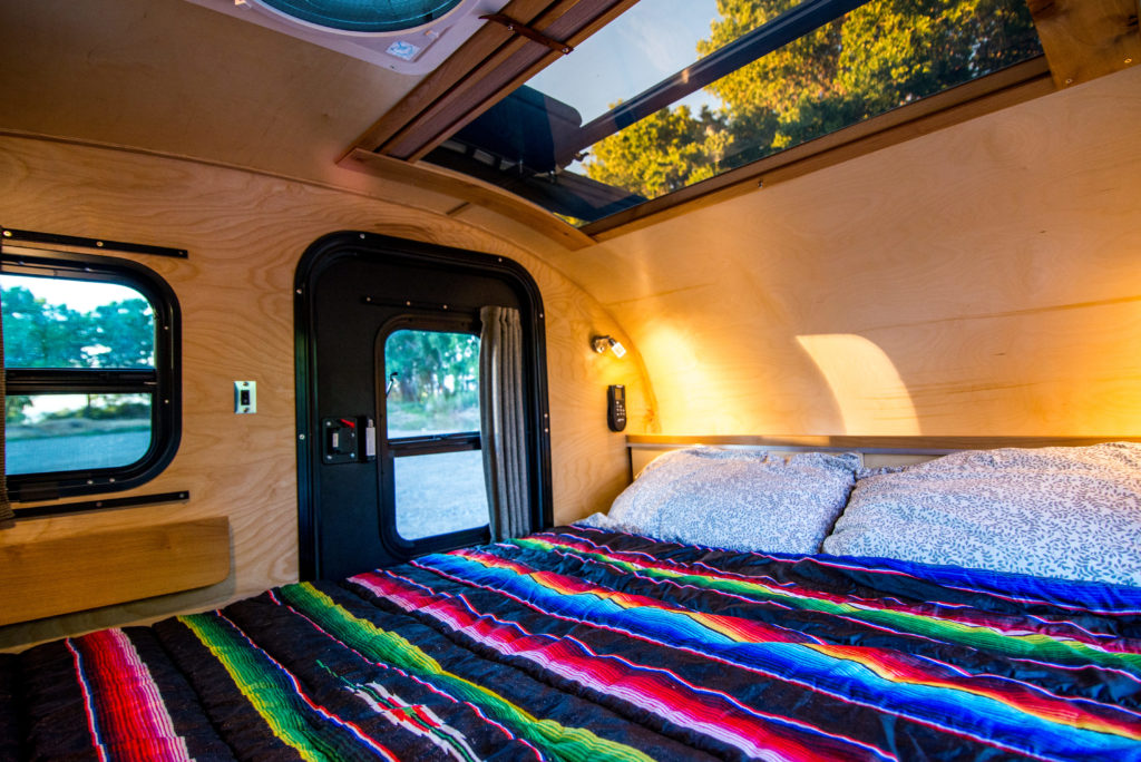 inside Timberleaf trailer showing skylight