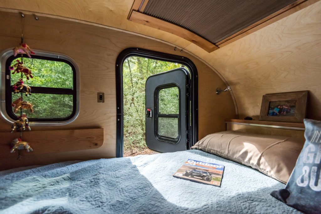 interior of camper with door open