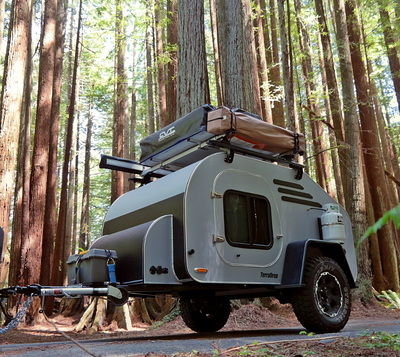 camper in the Oregon woods