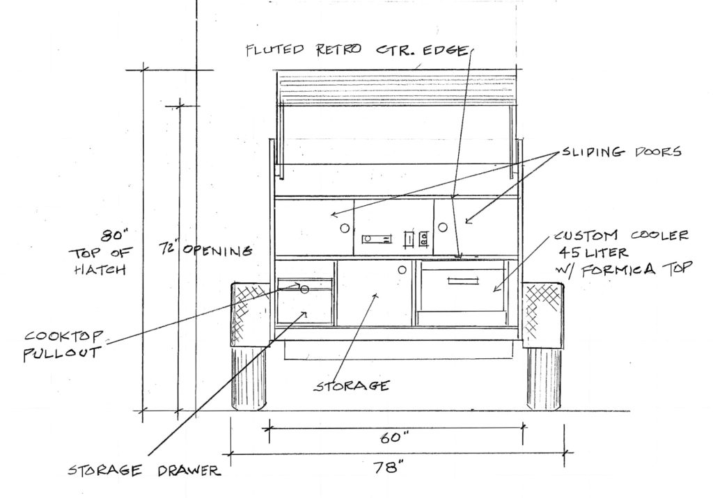 rear image sketch of trailer with specs