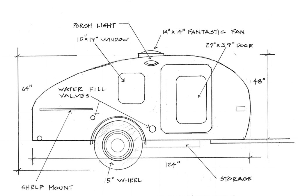 Timberleaf trailer with specs sketch