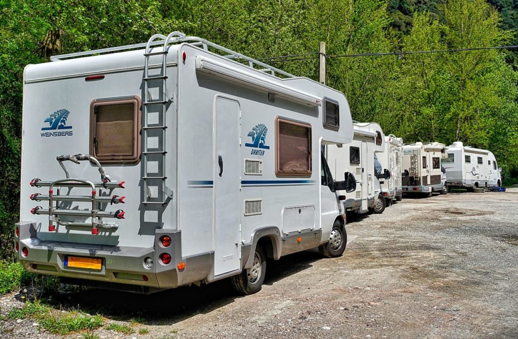 Parade of RVs crowded camping