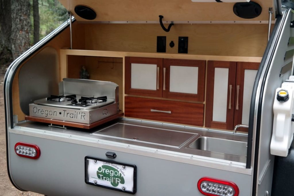 Teardrop galley kitchen