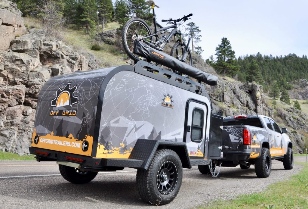 Off Grid Trailer Pando 2.0 towed by pick-up truck