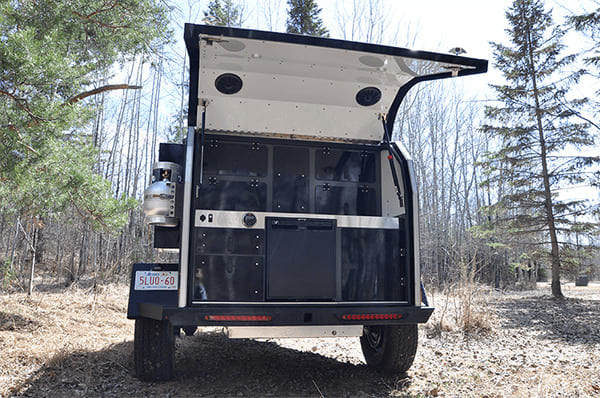 tailgate up off grid trailer rear image