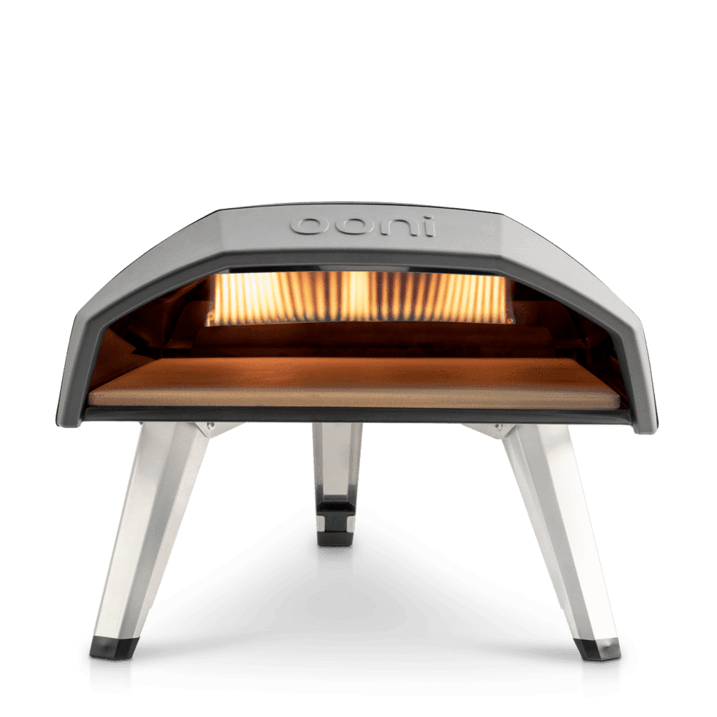inside view showing flame in Ooni Koda portable gas oven