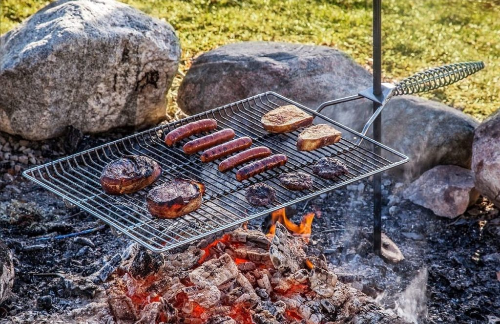 Stromberg campfire grate cooking meats
