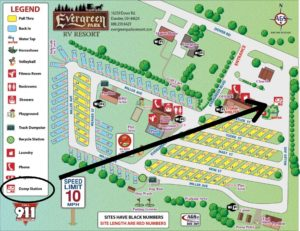 RV Park Map with Dump Site Labeled