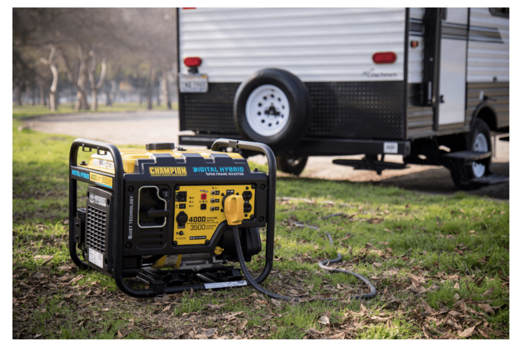Chamiopn generator in front of an RV